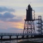 Leuchtturm Obereversand bei Sonnenuntergang